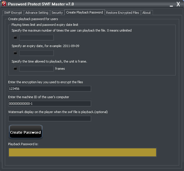 Password Protect SWF Master create playback password